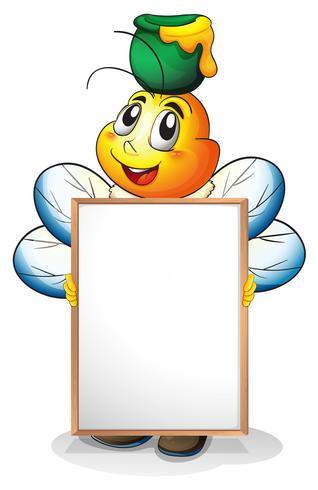 Een whiteboard met een honingbij aan de achterkant