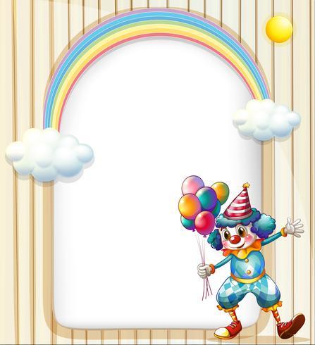 Eine leere Oberfläche mit einem Clown, der Ballone hält