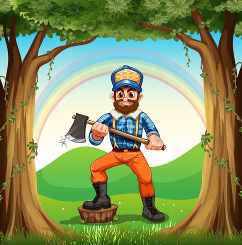 Ein Holzfäller, der am Stumpf im Wald tritt