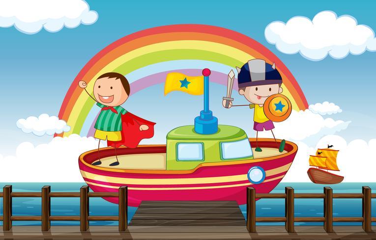 Crianças brincando no navio