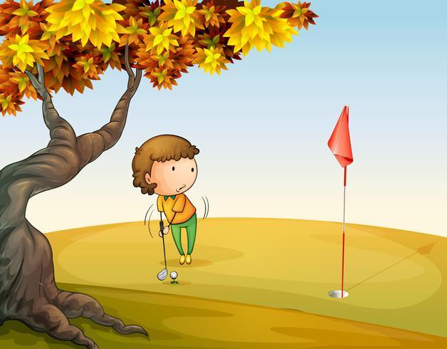 Una donna che gioca a golf al parco