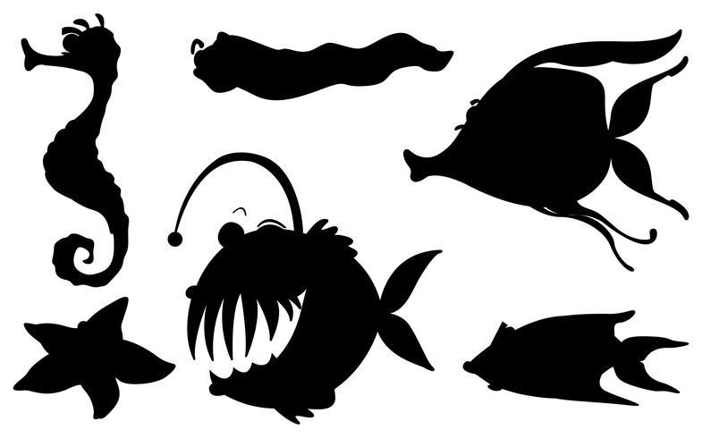 Criaturas marinhas em suas formas de silhueta