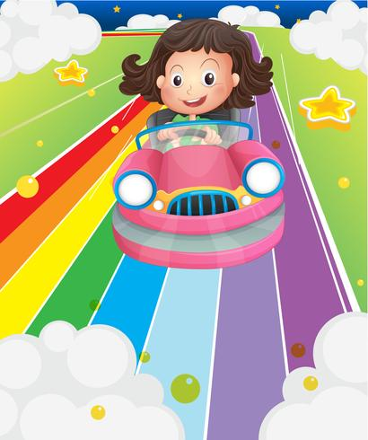 A little girl riding in a pink car vector