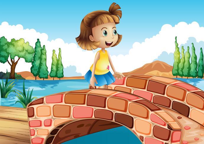 Una niña pequeña cruzando el puente. vector
