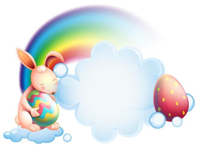 Um coelho segurando um ovo enquanto dorme na frente de um arco-íris