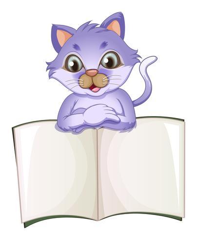 Een kat die het lege boek opent