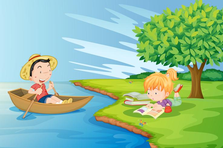 A boat with a boy and a girl studying at the riverbank