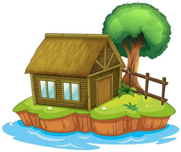 A house and tree on island