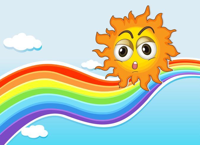 A sky with a sun and a rainbow