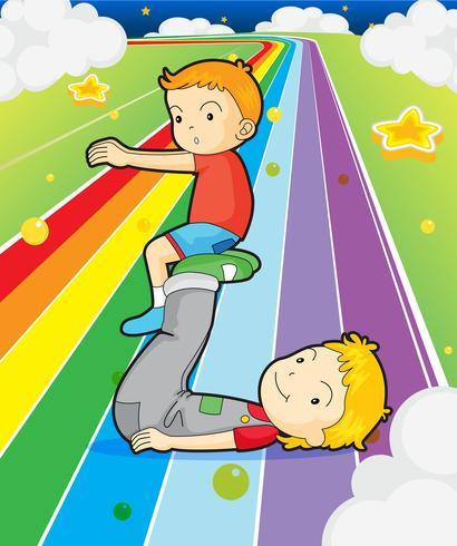 Dos niños jugando en el camino colorido