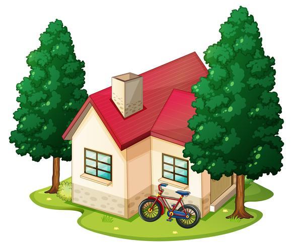 Scène avec une seule maison sur la pelouse