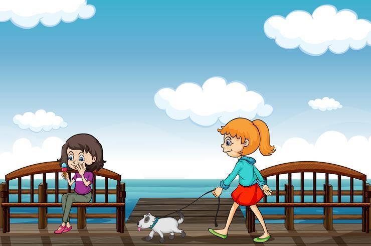 Duas meninas perto do mar