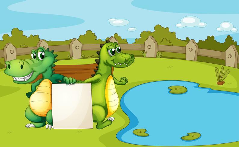 Crocodiles tenant une bannière vide