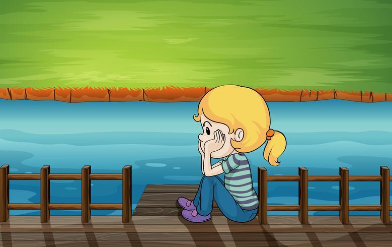 Een klein meisje op de brug vector