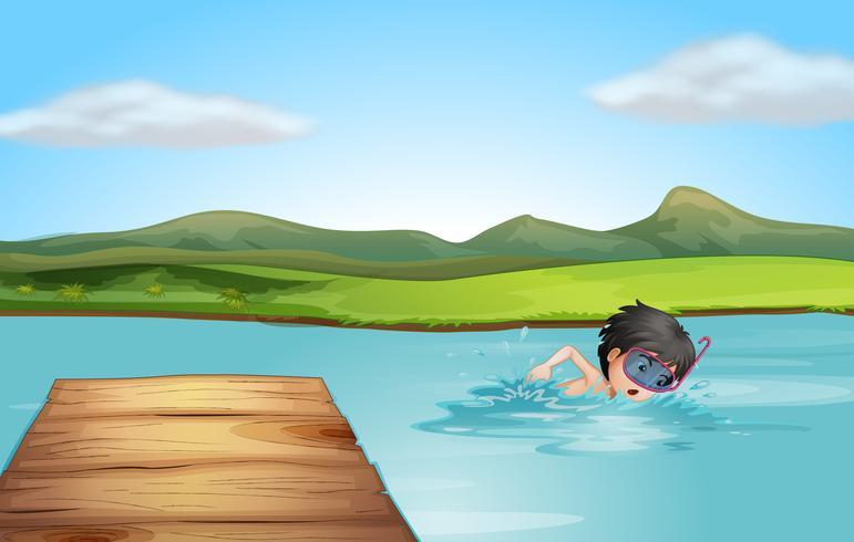 Ein junger Schwimmer beim Üben