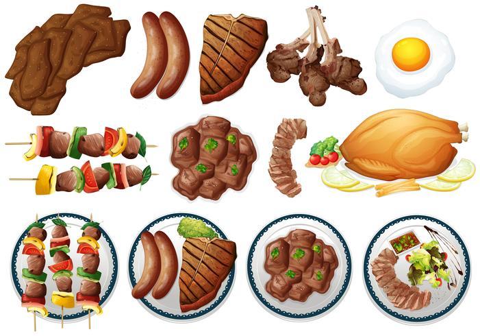 Diversi tipi di cibo grigliato