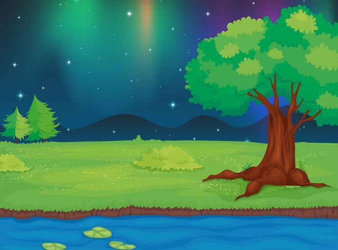 En flod och ett vackert landskap