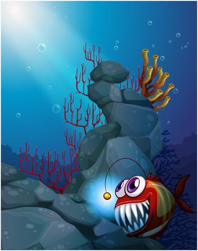 Ein Korallenriff unter dem Meer mit einer Piranha