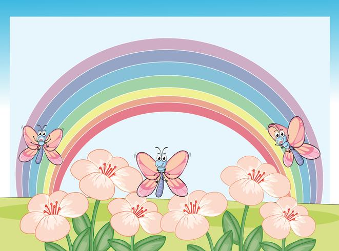 Dragonflies and rainbow