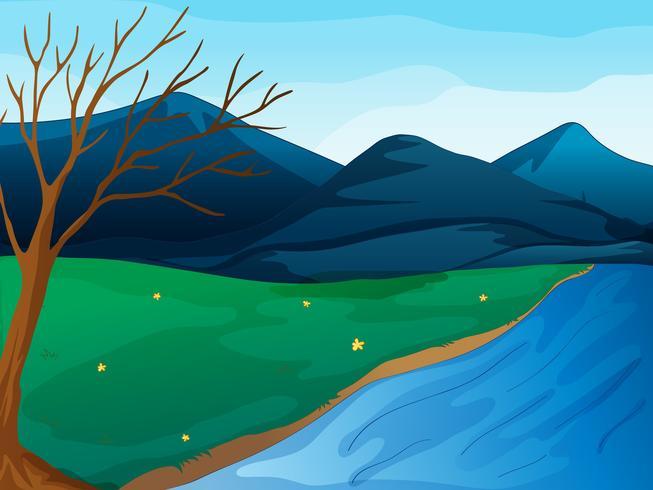 Un rio y montañas
