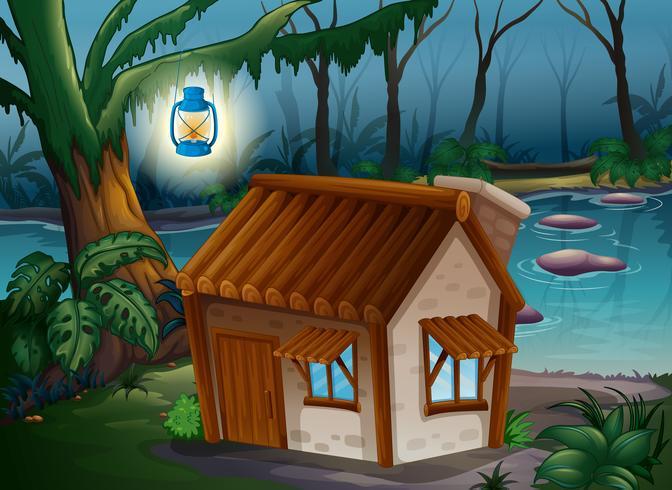 Une maison, une lampe et une rivière
