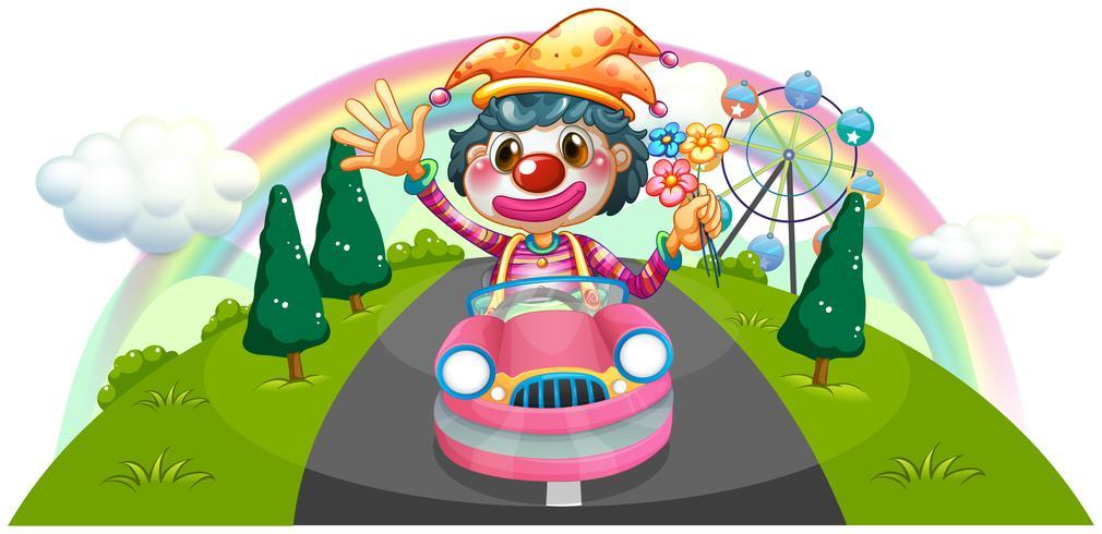 Un felice clown femminile in sella a una macchina rosa
