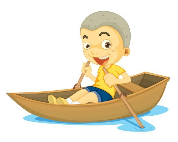 een jongen in een boot