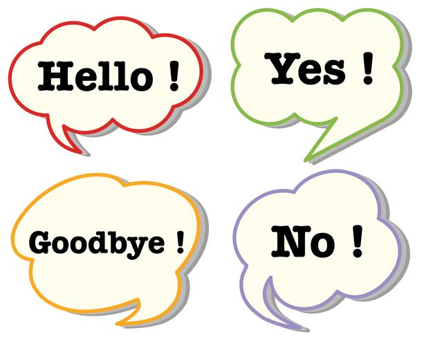 Speech bubbles with words