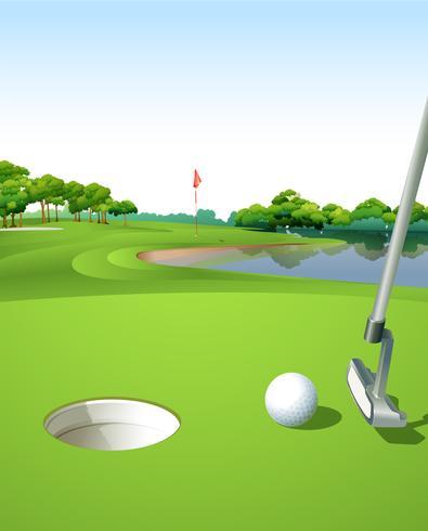 Un campo de golf limpio y verde. vector