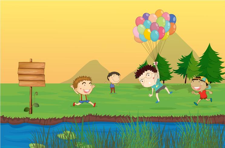 Un panneau vide avec un groupe d'enfants à l'arrière