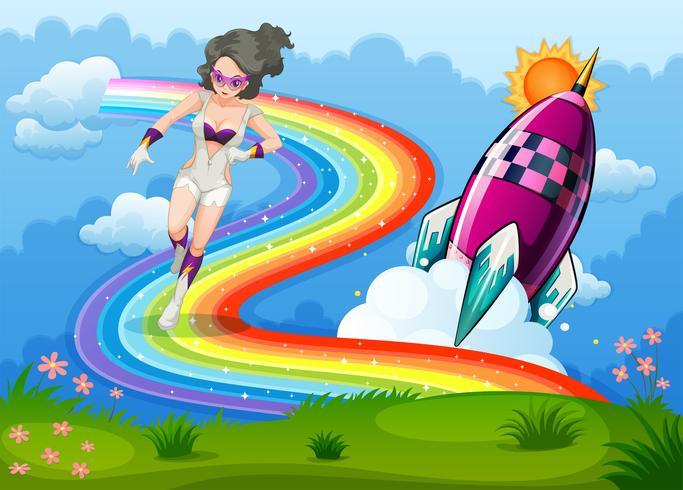 En superhjälte över regnbågen och en raket