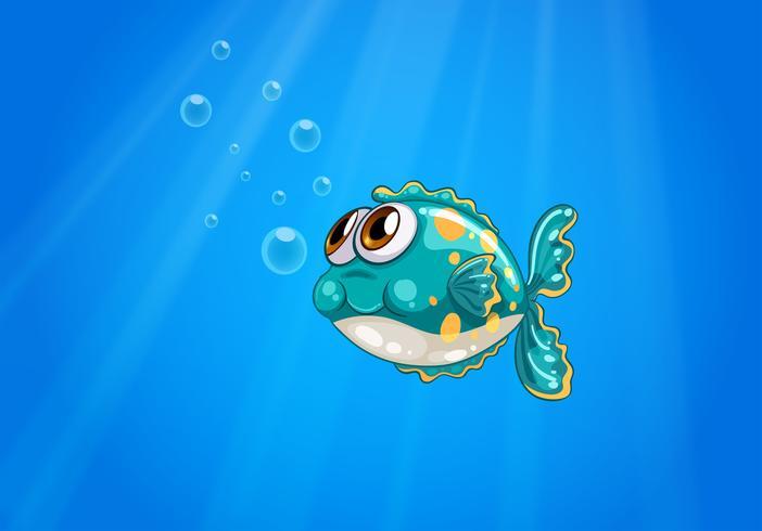 Un pesce bolla sotto il mare