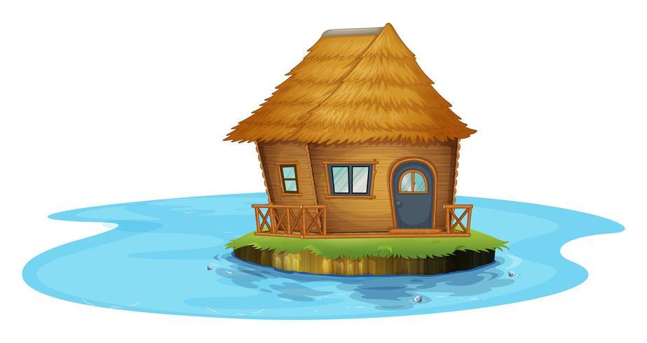 Uma ilha com uma pequena casa
