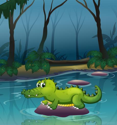 Un alligatore al fiume all'interno della foresta vettore