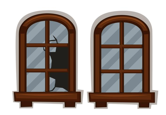Windows in good and bad condition vector
