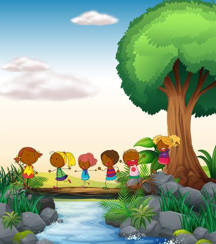Crianças e rio