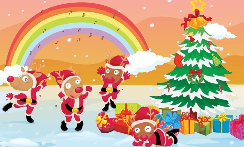 reindeers celebrating christmas