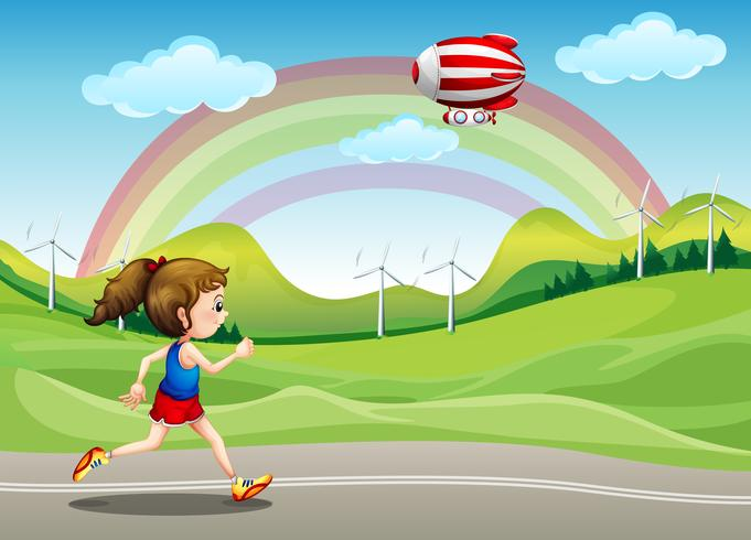 Une fille qui court sur la route et un dirigeable au-dessus d'elle