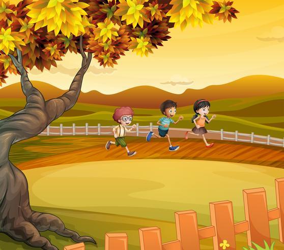 Três crianças, correndo, ao longo, a, campo
