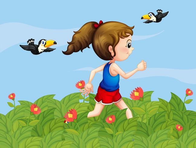 Uma menina andando no jardim com pássaros