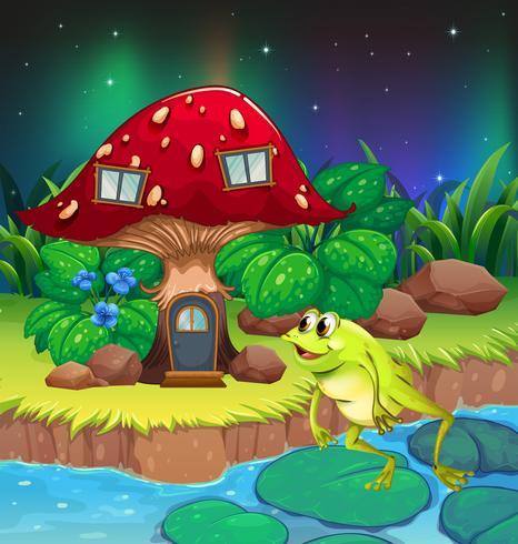 Una rana che salta vicino alla casa dei funghi rossa