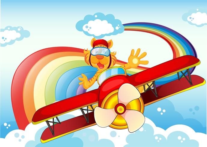 A tiger on a plane near the rainbow