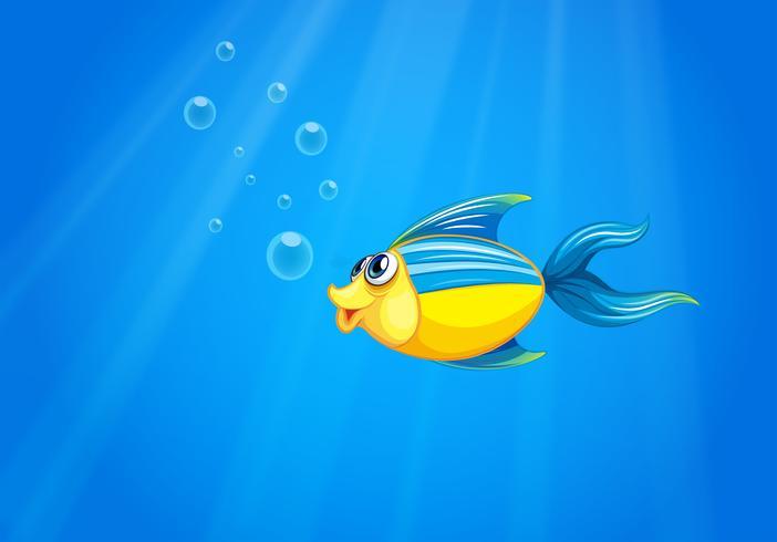 Een diepe zee met een vis