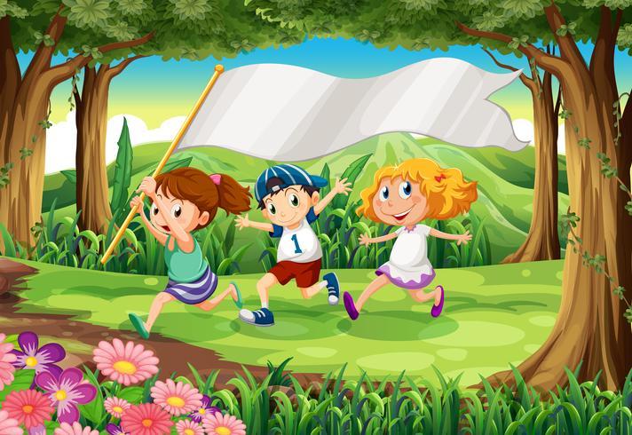 Uma selva com três crianças com um banner vazio