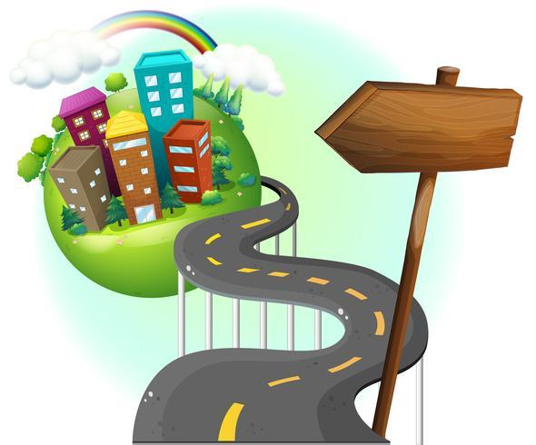 Uma estrada indo para a cidade com um arrowboard