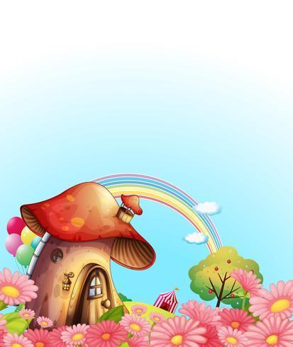 Uma casa de cogumelos acima da colina com um jardim
