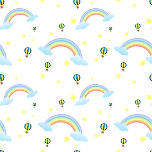 Een naadloos ontwerp met regenbogen en zwevende ballonnen