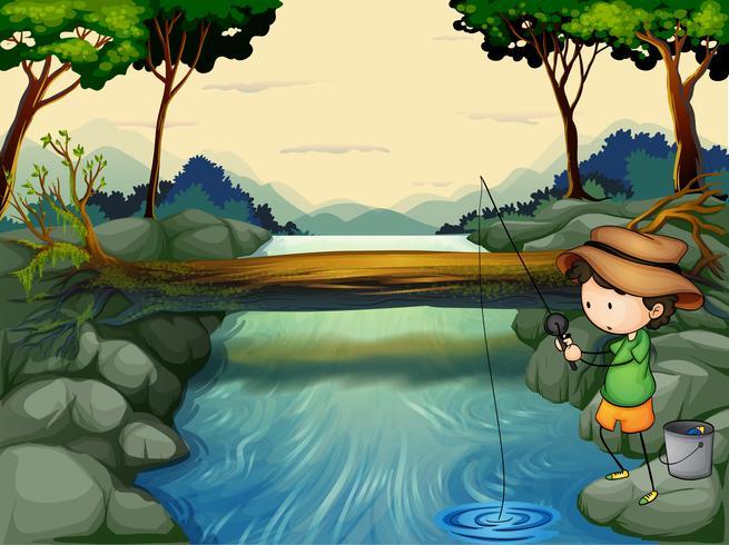 Un ragazzo che pesca al fiume