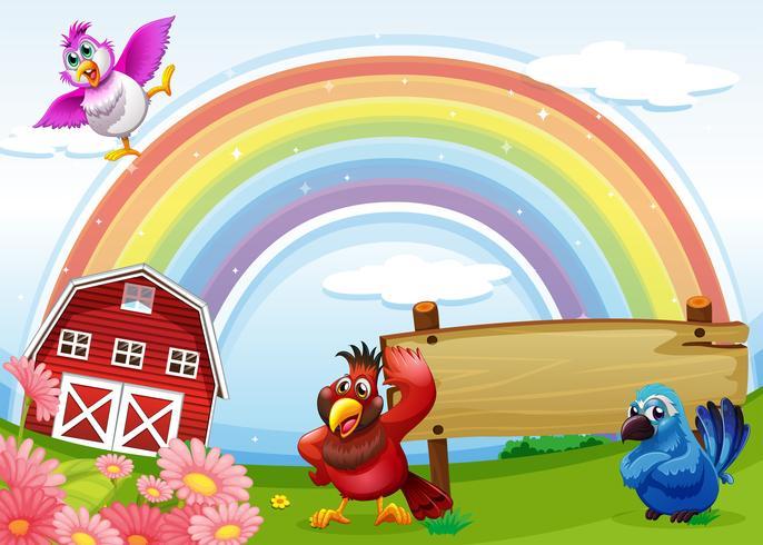 Oiseaux à la ferme avec un arc en ciel et un panneau vide