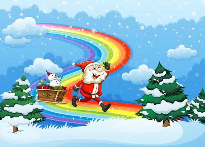Kerstman en zijn slee die bij de regenboog lopen
